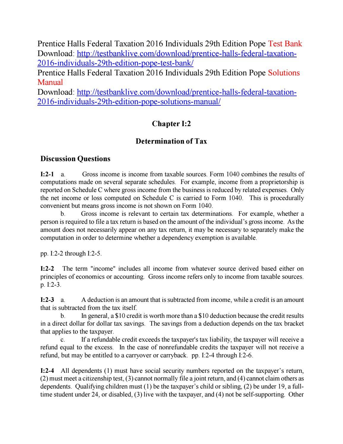 prentice hall federal taxation 2016 individuals solutions manual pdf download